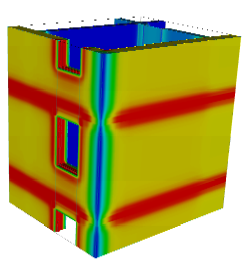 Colormap image created with AnTherm to visualize the distribution of heat flow flux at one space surrounded by 8 interior spaces at the edge of the building (10-space case) [the exemplary coloured image show the heat flux distribution; regions shown in red emphasize high heat stream densities]